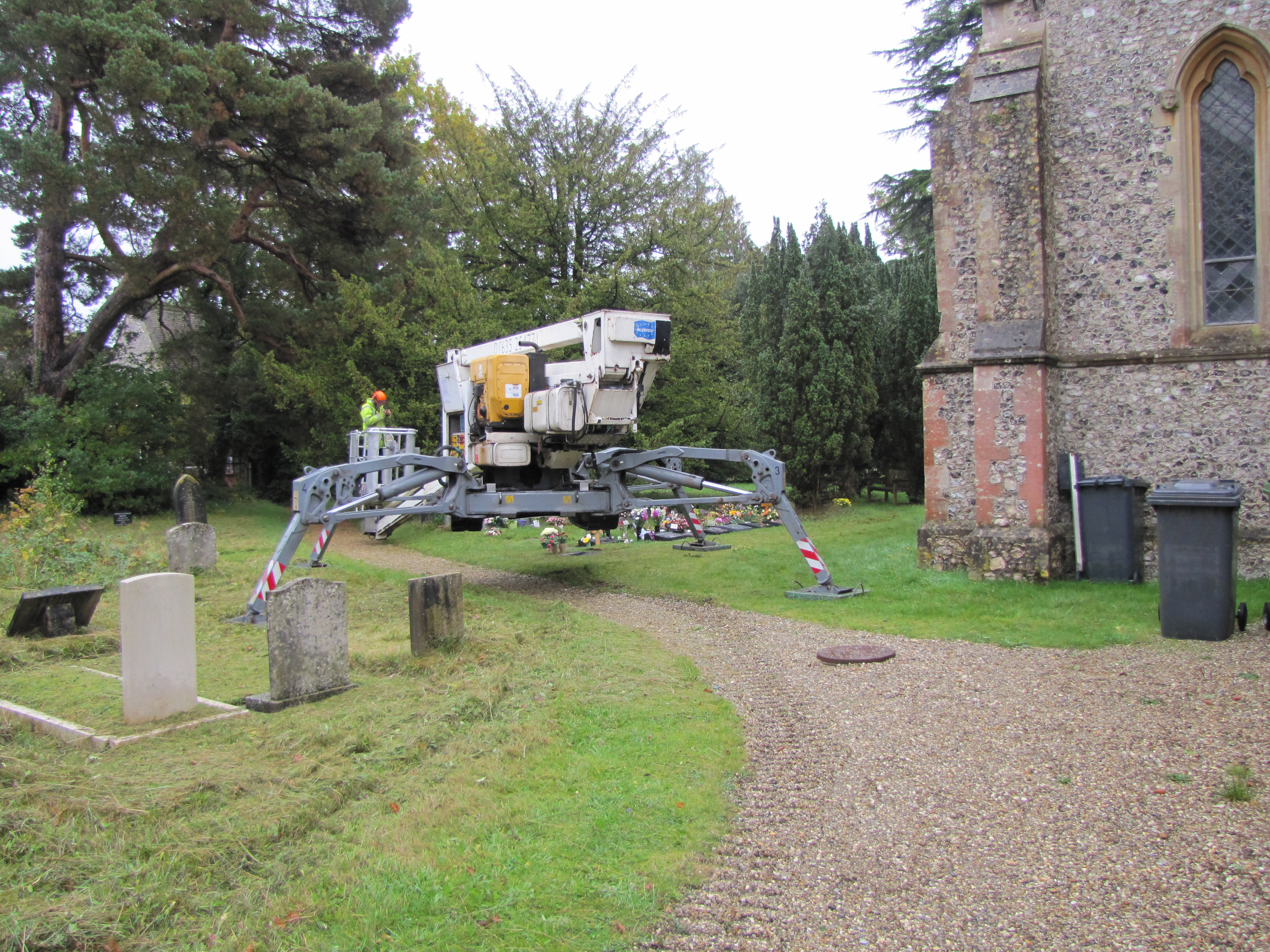 Cherry picker ready for roof inspection
